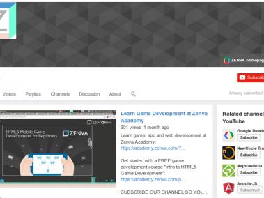 zenva youtube channel