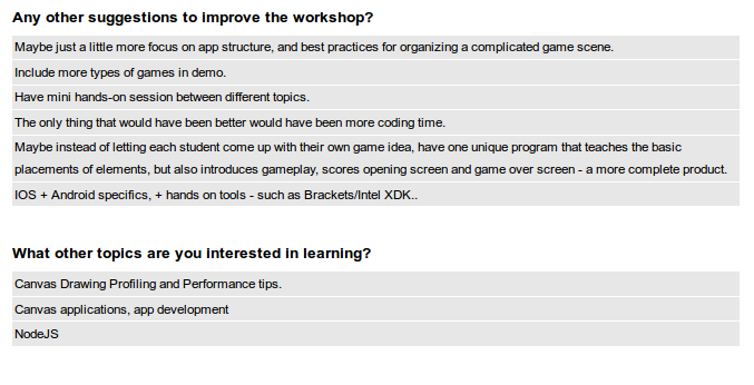 html5 game development workshop survey 2