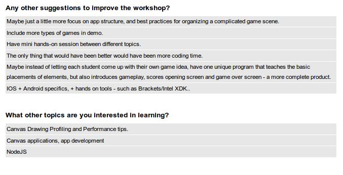html5 game development workshop survey 2