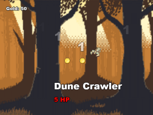 Dune Crawler enemy with Gold amount displayed in the upper left corner