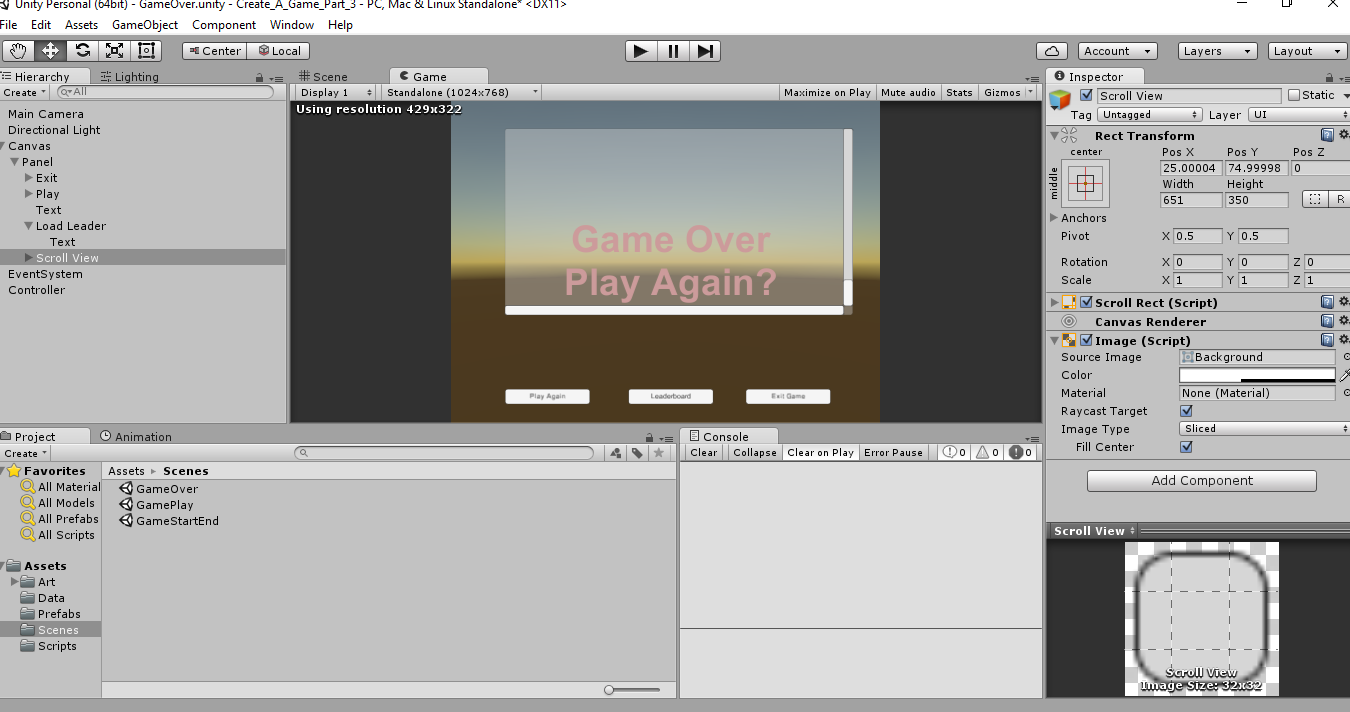 2016-08-25 00_15_11-Unity Personal (64bit) - GameOver.unity - Create_A_Game_Part_3 - PC, Mac & Linux