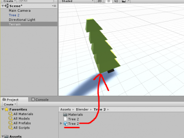 Low poly tree imported into Unity from Blender