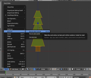 Blender menu with Normals and Recalculate Outside selected