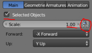Blender object with Scale set to 1.00