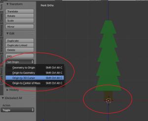 Blender menu with Origin to 3D Cursor selected