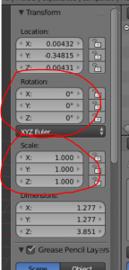 Rotation and Scale circled in Blender's Transform window