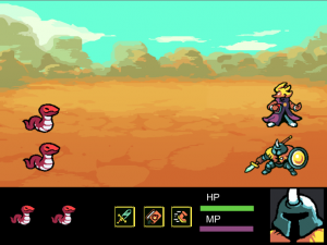 RPG battle screen with two snakes and two player characters