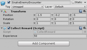 SnakeEnemyEncounter object with Collect Reward set to give 50 experience