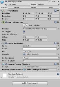 EnemySpawn object settings in Unity Inspector