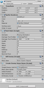 Snake1 object in the Unity Inspector