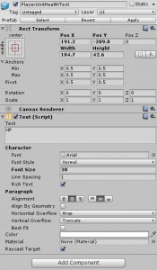 PlayerUnitHealthText settings in the Unity Inspector