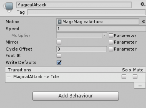 MagicalAttack settings for the player's attack