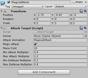 MagicalAttack object with Attack Target script attached
