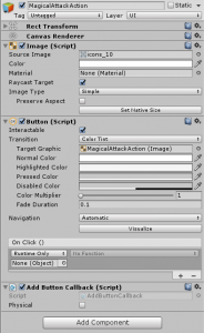 MagicalAttackAction object in the Unity Inspector