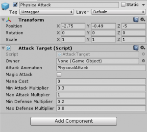 PhysicalAttack object with Attack Target script attached