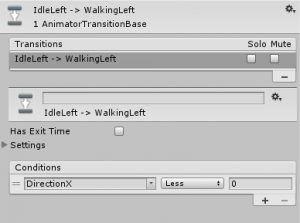 IdleLeft to WalkingLeft animation conditional