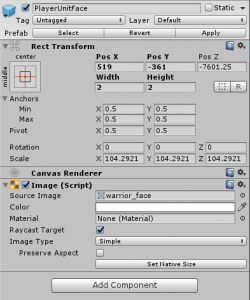 PlayerUnitFace object in the Unity Inspector