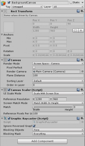 Unity Inspector view for the BackgroundCanvas