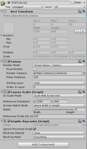 Unity Inspector view for the HUDCanvas