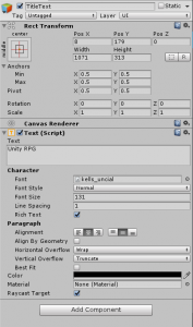 Unity Inspector view for the TitleText