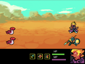 Updated battle screen with two snakes and two player characters