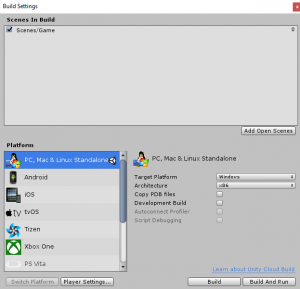 Unity Build Settings with Game scene in Scenes In Build list