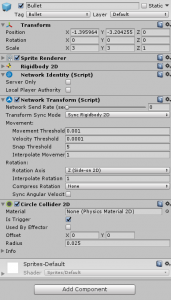Bullet object in the Unity Inspector