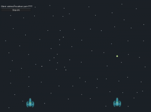 Unity Game scene with two blue spaceships and a bullet