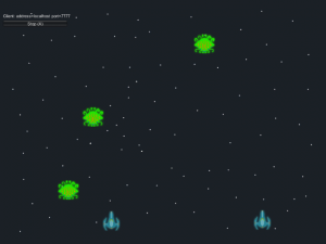 Unity game scene with spaceships and green enemies