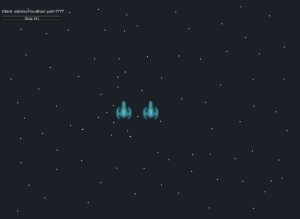 Game scene showing two blue space ships