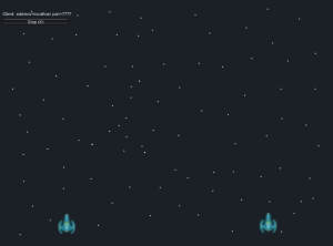 Game scene with blue space ships farther apart
