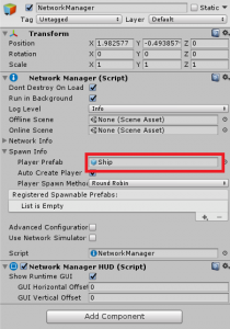 NetworkManager with Ship prefab added to the Player Prefab option