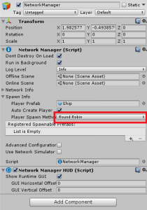NetworkManager with Round Robin Player Spawn Method highlighted