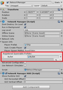 NetworkManager with Bullet set as Registered Spawnable Prefab