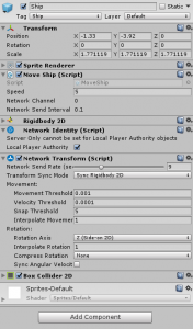 Ship object in the Unity Inspector