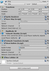 Ship object in the Unity Inspector with Short Bullets Script