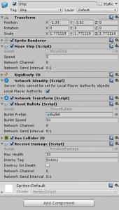 Ship object in the Unity Inspector with Receive Damage script