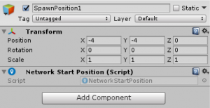 SpawnPosition1 object's Transform Component settings