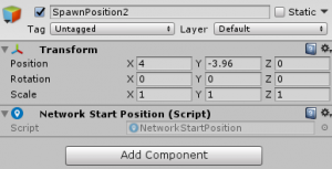 SpawnPosition2 object's Transform Component settings