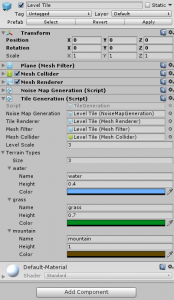 Level Tile in the Unity Inspector with Terrain Types settings