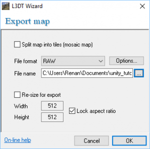 L3DT Wizard with Export Map window open
