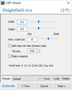 L3DT Wizard with Heightfield size settings open