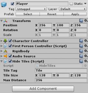 Player object in the Unity Inspector and Hide Tiles script