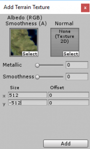 Add Terrain Texture window in Unity with world selected