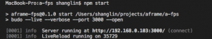 Output of npm start.