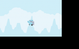 Phaser 3 game with airplane sprite and mountain background
