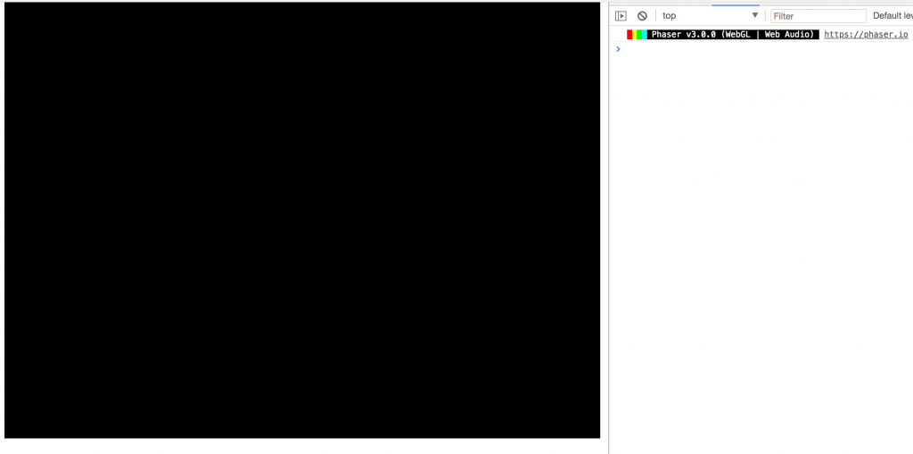 Blank Phaser 3 game running in Google Chrome