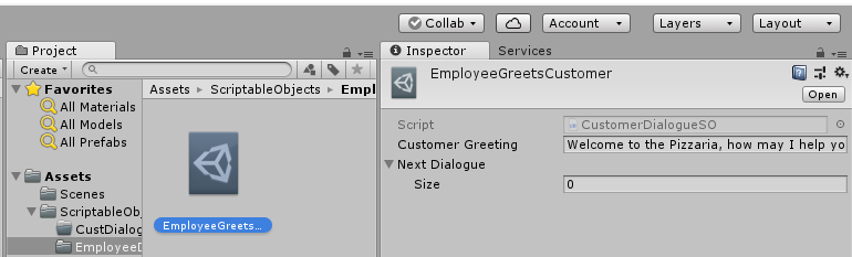 Using Unity's Scriptable Object System – Pizzaria Project