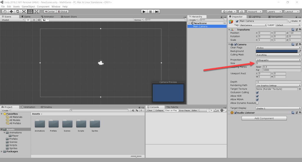 Unity camera options within the Inspector