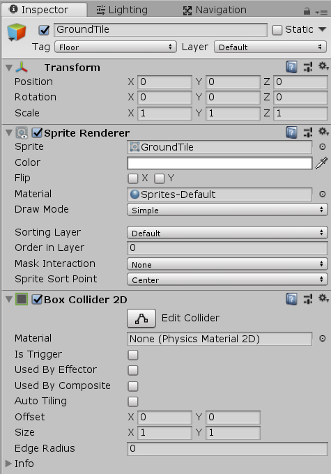 Unity ground tile with Box Collider 2D component added
